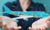 Fotografie Businessman with plane and famous landmarks of the world 3D rend