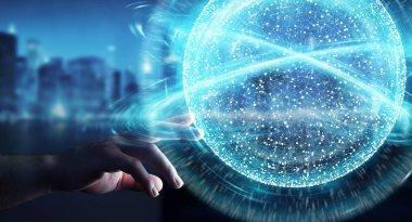 Businesswoman using digital network connection sphere 3D renderi