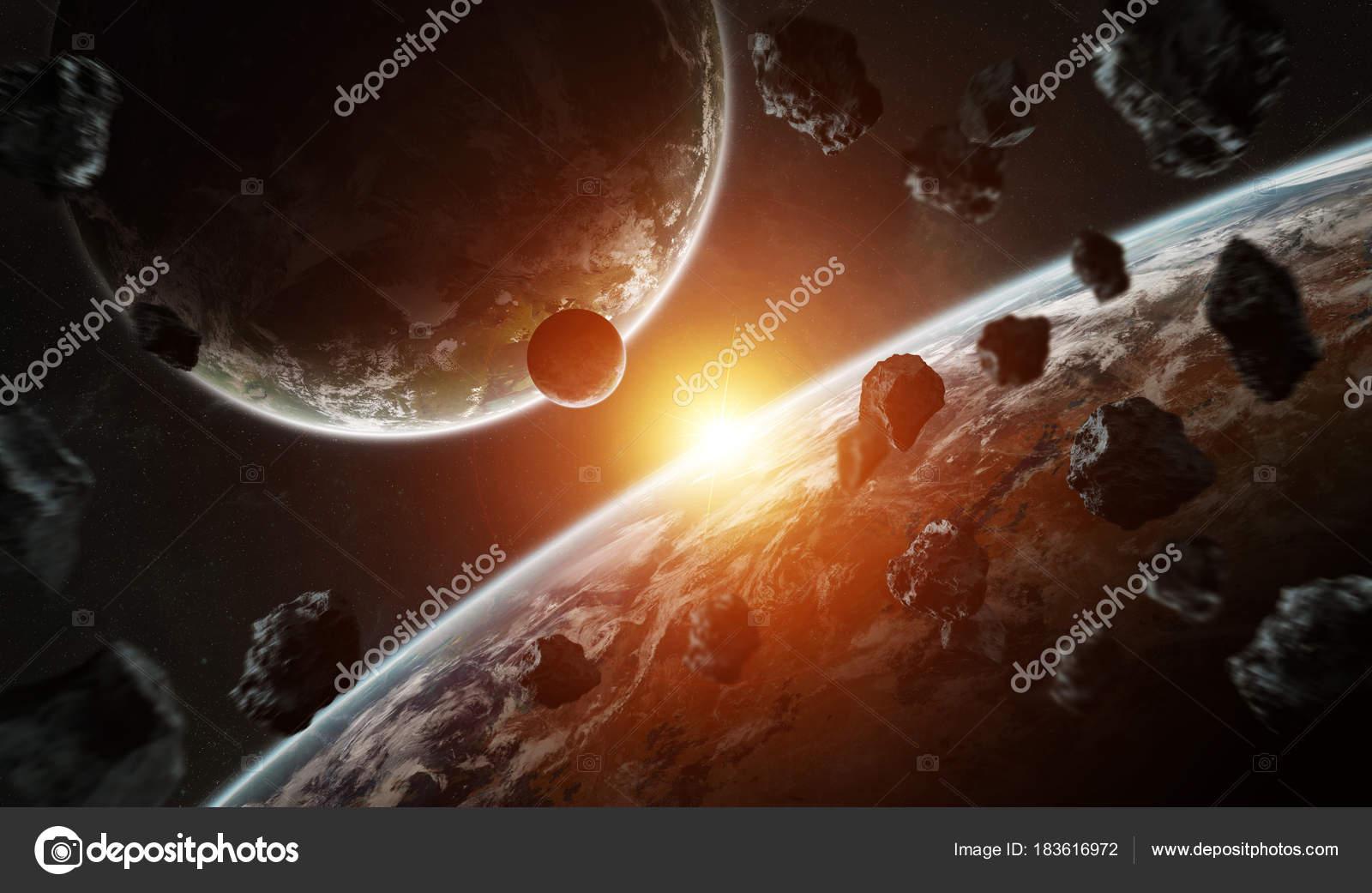 Обои огненный хвост, астероид, планеты. Космос foto 12