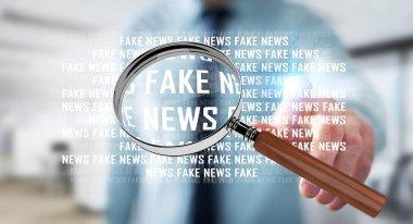 Businessman discovering fake news information 3D rendering
