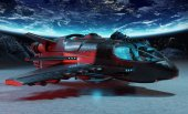 Fotografie Futuristic spacecraft on planet background 3D rendering elements