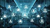soziales Netzwerk über Rechenzentrum im Serverraum 3D-Rendering