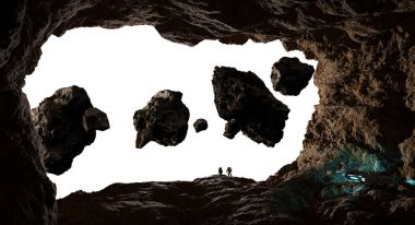 Astronauts exploring a cave in asteroid 3D rendering elements of