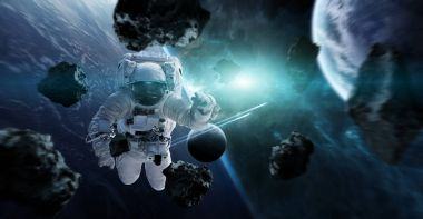 Astronaut floating in space 3D rendering elements of this image