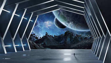 Huge hall spaceship interior 3D rendering elements of this image