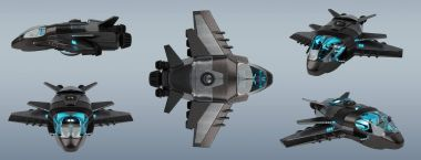 Futuristic spacecraft collection isolated on grey background 3D