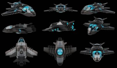 Futuristic spacecraft collection isolated on black background 3D
