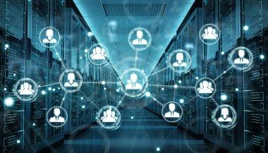 Social network over server room data center 3D rendering