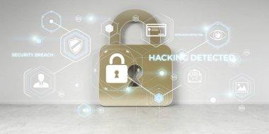 Hacking on digital house security 3D rendering