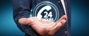 Businessman using hotline customer assistance 3D rendering