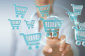 Fényképek Üzletasszony ikonokkal digitális vásárlás 3d-leképezés