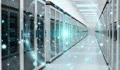 Photo Earth network flying over server room data center 3D rendering