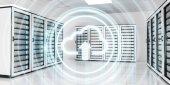 Fotografie Server-Raum Rechenzentrum mit Wolke blaues Symbol 3D-Rendering