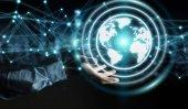 Podnikatel, použití planety země síť sphere 3d vykreslování