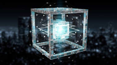 Futuristic cube technology textured object 3D rendering