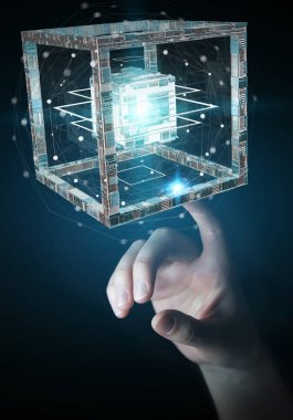 Businesswoman using futuristic cube textured object 3D rendering