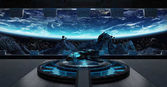 Fotografie Landing strip spaceship interior 3D rendering elements of this i
