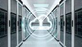 Fotografia Icona della nube scaricare datas in sala server rendering 3d centro