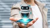 Fotografie Podnikatel, pomocí digitálních chatbot robota aplikace 3d vykreslování