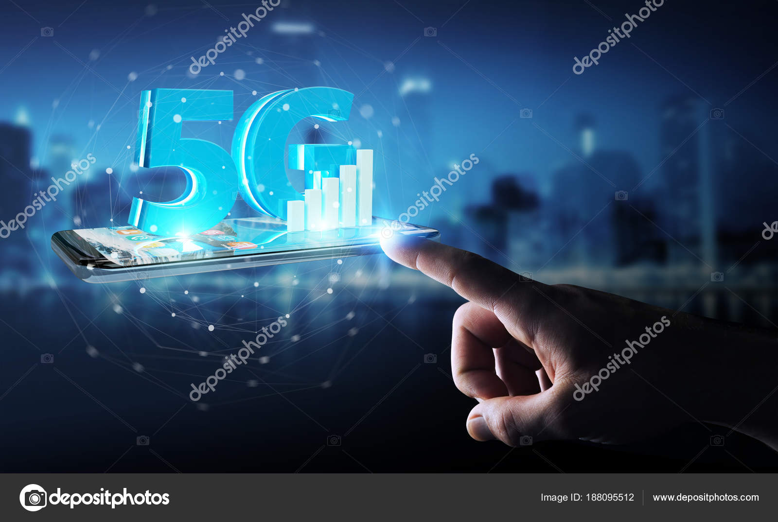 Businessman using 5G network with mobile phone 3D rendering — Stock Photo
