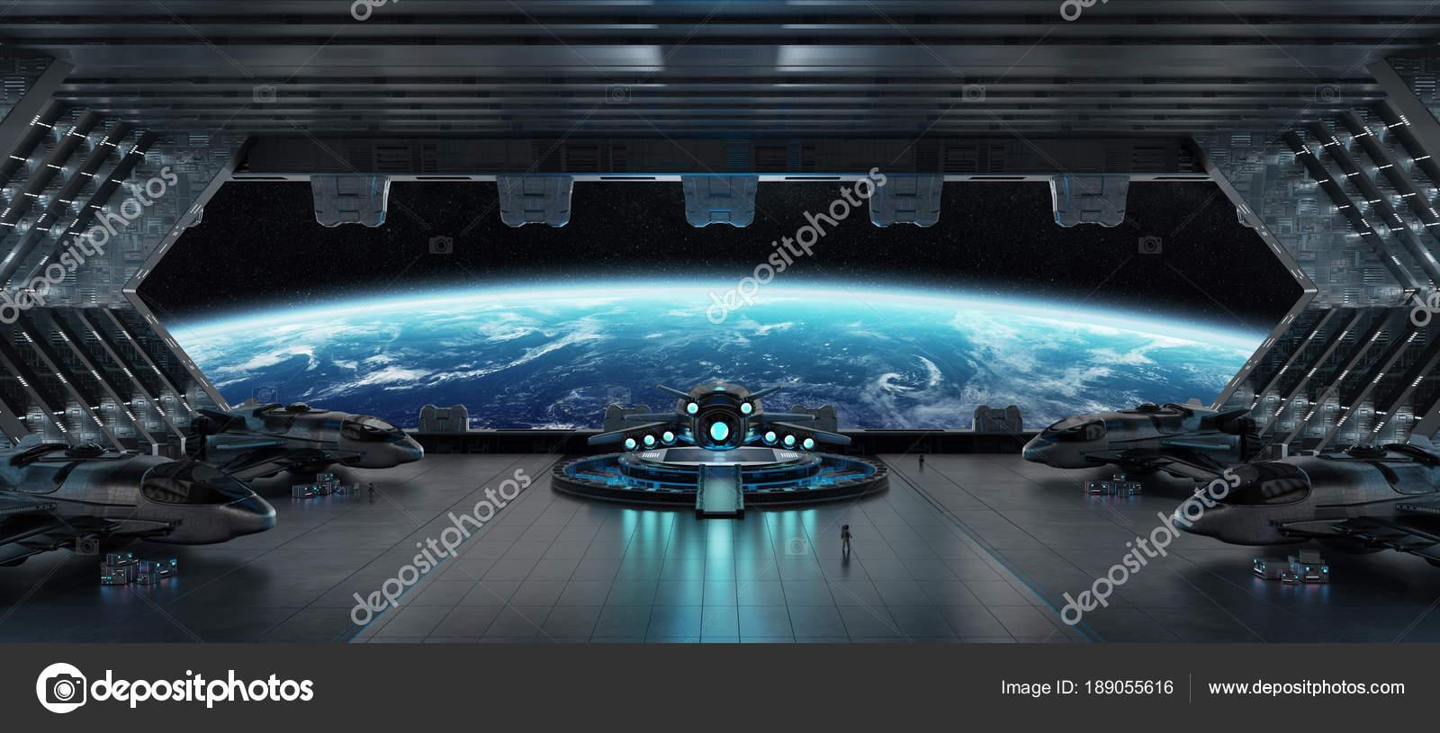 Interior De Ventana De Nave Espacial: Elementos De Processamento De Nave Espacial 3d Interior De