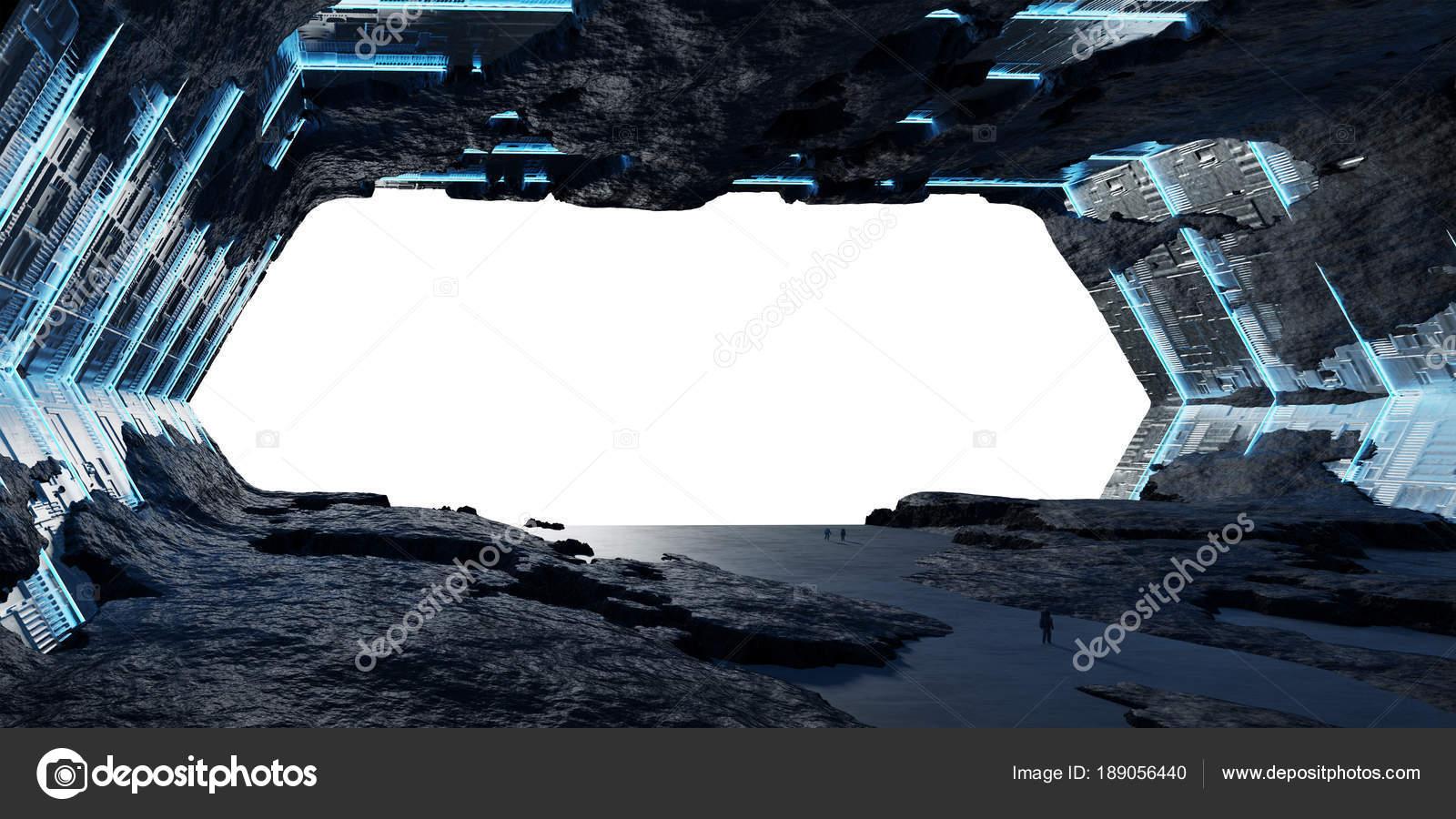 Huge asteroid spaceship interior 3D rendering elements of