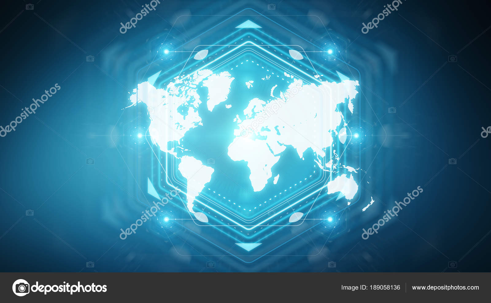 Digital world map screen interface 3d rendering stock photo digital world map screen interface isolated on blue background 3d rendering photo by sdecoret gumiabroncs Choice Image
