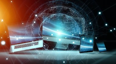 Worldwide server interface over modern tech devices 3D rendering