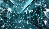 Fotografie Zimmer Serverzentrum Austausch von Cyber-Datas 3D-Rendering