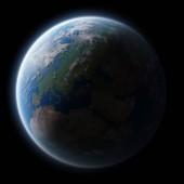 Pohled na modré planety země v prostoru 3d vykreslování prvků tohoto