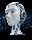 Intelligenza artificiale testa cyborg 3d rendering