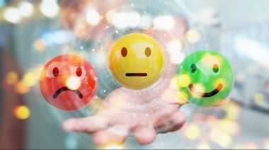 Businesswoman using customer satisfaction rating 3D rendering