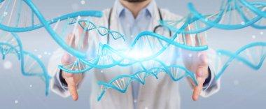 Doctor holding blue digital DNA structure 3D rendering