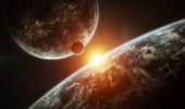 Photo Distant planet system in space with exoplanets 3D rendering elem