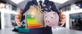 Fotografie Geld sparen mit guter Energie Diagramm 3d Render Bewertung Geschäftsmann