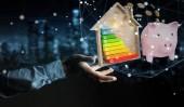 Fotografie Geschäftsmann spart Geld mit guter Energiebilanz