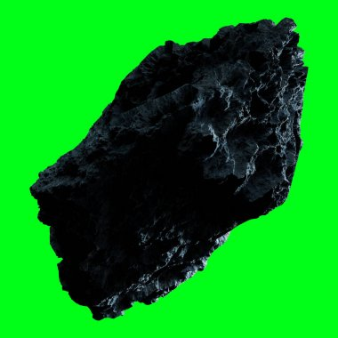 Dark rock asteroid isolated 3D rendering