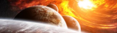Exploding sun in space close to planet 3D rendering elements of