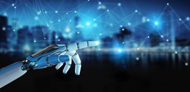 White robot hand using digital network connection 3D rendering