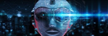 Cyborg head using artificial intelligence to create digital inte