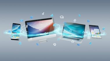 Tech devices and icons applications connected and isolated on grey background 3D rendering stock vector