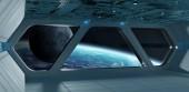 Kosmická loď futuristické šedý modrý interiér s výhledem na planetě Eart