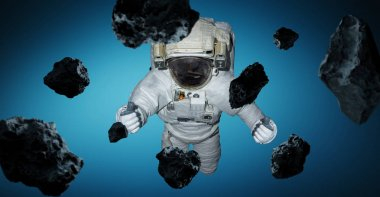 Astronaut isolated on blue background 3D rendering elements of t