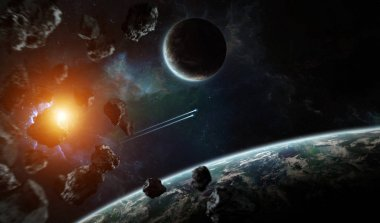 Distant planet system in space with exoplanets 3D rendering elem
