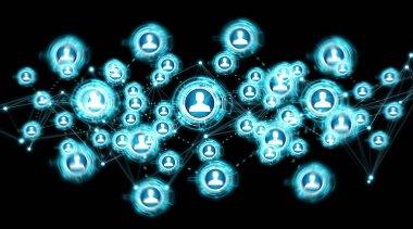 Social media digital interface on black background 3D rendering stock vector