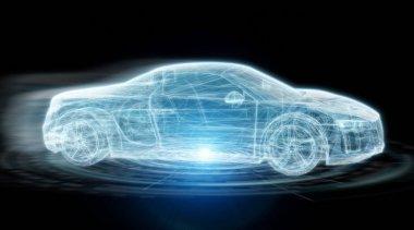 Modern digital smart car interface 3D rendering