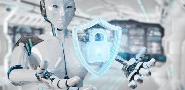 White woman humanoid using web security 3D rendering