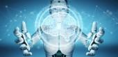 Bianca donna umanoide utilizzando intelligenza artificiale digitale icona