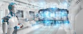 Bílé cyborg budoucí rozhodnutí textu rozhraní 3d vykreslování
