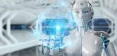 Fényképek Fehér robot nő segítségével digitális gömb kapcsolat hologram 3d-re